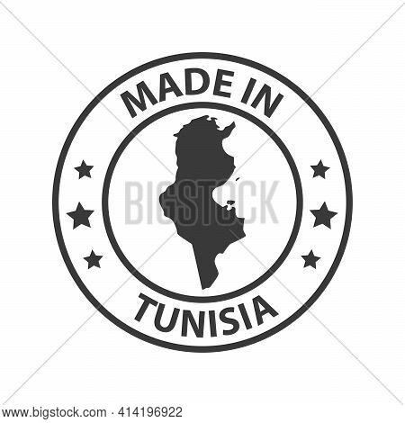 Made In Tunisia Icon. Stamp Made In With Country Map