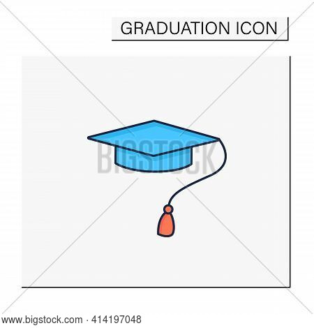 Graduation Cap Color Icon. Special Graduate Hat With Tassel. Holiday Costume. Graduate Uniform.gradu