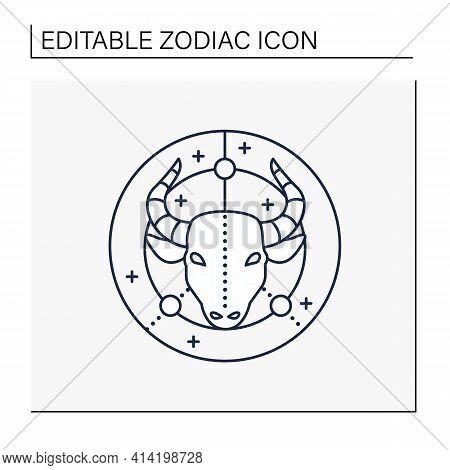 Taurus Line Icon. Bull Symbol. Second Fire Sign In Zodiac. Mystic Horoscope Sign. Bullfight, Corrida