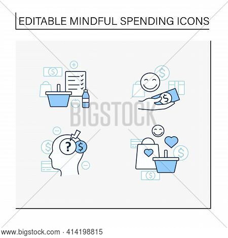 Mindful Spendings Line Icons Set.shopaholism, Designate Guilt-free Spending Money, Shopping List, St