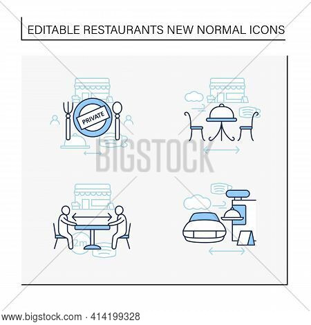 Restaurant New Normal Line Icons Set.private Dining, Outdoor Dining, Social Distancing, Drive In Din