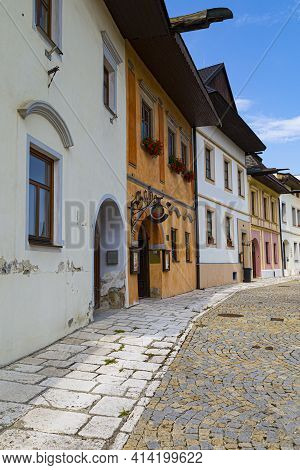 Street Of Ancient Town Spisska Sobota With Historic Medieval Europian Architecture, Colorful Houses.