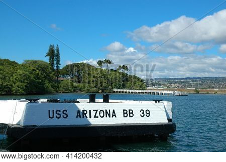 PEARL HARBOR, OAHU - 23 NOV 2010: Mooring Cay for the USS Arizona part of the WWII memorial to the sunken battleship.