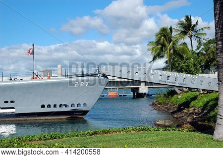 PEARL HARBOR, OAHU - 23 NOV 2010: The bow with access ramp at the USS Bowfin, a Submarine Museum and Park.