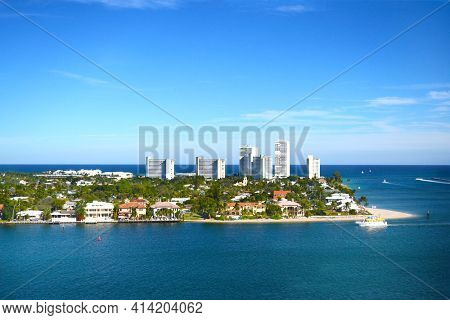 FT. LAUDERDALE, FLORIDA - DEC 21, 2012: The city seen from a cruise ship as it departs the port town for a Caribean Cruise.