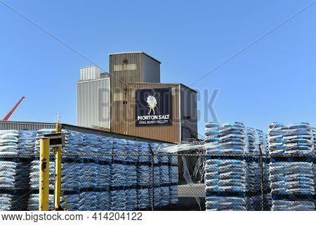 LONG BEACH, CALIFORNIA - 20 MAR 2021: The Morton Salt Facility in the Port of Long Beach,