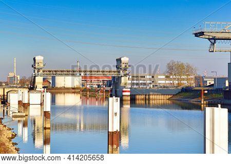 Karlsruhe, Germany - March 2020: Harbor Flood Barrage Entrance Gate Called 'hafensperrtort' At Rhine