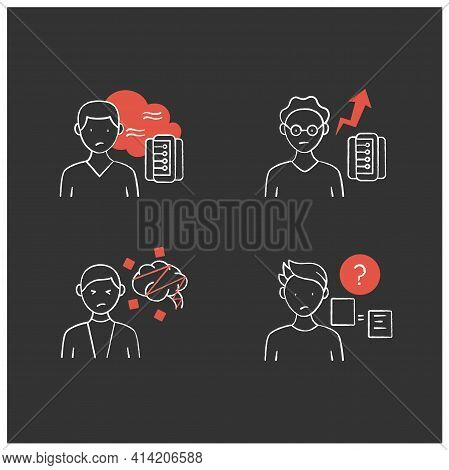 Information Overload Chalk Icons Set. Consists Of Cognitive Dissonance, Comparative Research Method,