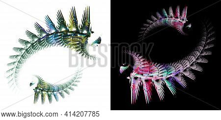 Colorful Abstract Bizarre Marine Life Swim One After Another In A Circle On White And Black Backgrou