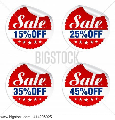 Discounts Sale Stickers Set 15%, 25%, 35%, 45% Off With Stars. Vector Illustration