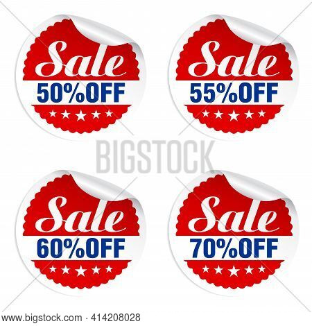 Discounts Sale Stickers Set 50%, 55%, 60%, 70% Off With Stars. Vector Illustration