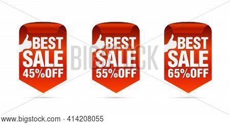 Red Best Sale Badges Set. Best Choice. Sale 45%, 55%, 65% Off. Vector Illustration