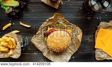 Tasty And Delicious Hamburger Cooked Fries Chips French Fries Meal Delicious Burger Restaurants Drin