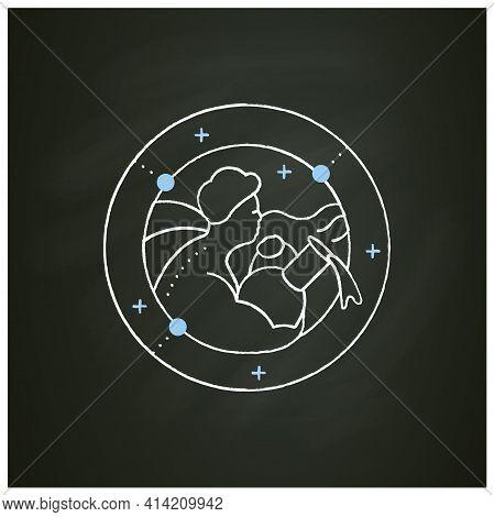 Aquarius Chalk Icon. Eleventh Fire Sign In Zodiac. Water Bearer Birth Symbol. Mystic Horoscope Sign.