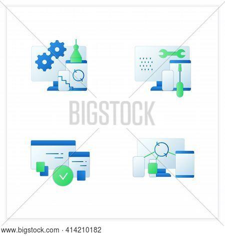 Cross Platform Flat Icons Set. Programming Environment. Development, Coding Toolkit, Compatibility,