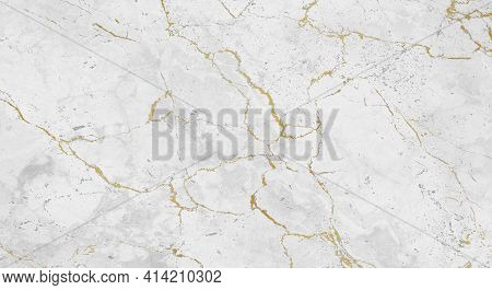Closeup Photo Background Of Natural White Marble Pattern With Gold. Marble Stone Texture, Front View