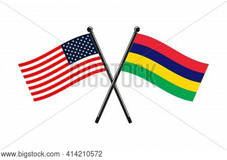 National Flags Of Mauritius And Usa Crossed On The Sticks In The Original Colours