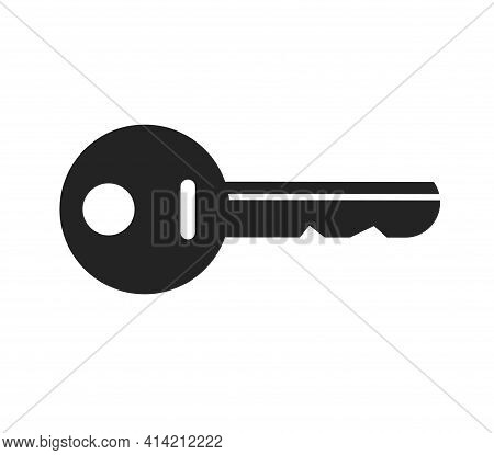 Door Key Icon Shape Or Silhouette Vector Isolated Flat Cartoon Illustration Black And White Pictogra