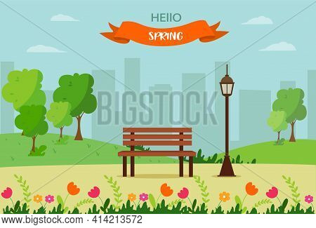 Hello Spring, Landscape With Bench, Flourishing Tree, House, Fields And Nature. Cute Vector Illustra