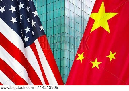 Flag Of Usa And China Flag Close-up. The Concept Of Political And Economic Relations Of States. Sanc