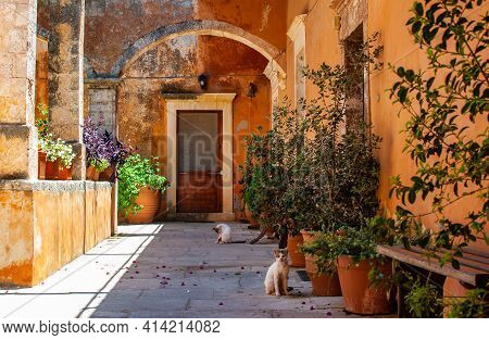 Holy Trinity Monastery. Agia Triad Monastery In Crete In Greece.