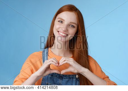 Love You. Attractive Romantic Tender Redhead Smiling Gentle Girlfriend Blue Eyes Freckles Show Heart