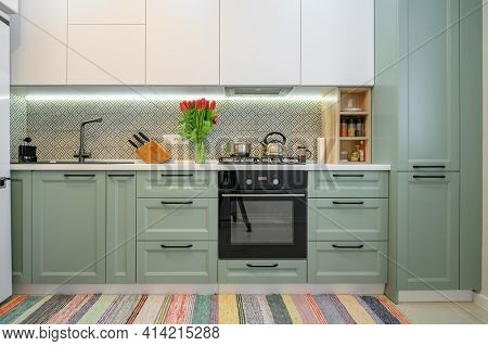 Frdcv ont view of well designed green-teal and white modern kitchen interior