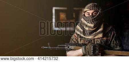 Arab Male Soldier In A Headdress From The National Keffiyeh With Weapons In His Hands. Muslim Man Wi