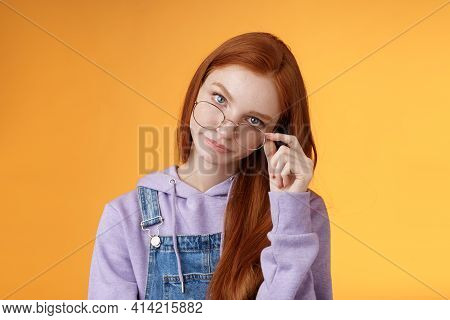You Gotta Be Kidding Me. Annoyed Redhead Smart Irritated Elder Sister Look From Under Forehead Take