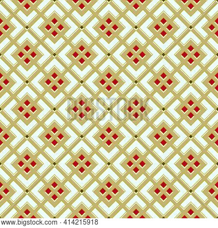 Light Seamless Pattern, Abstract Geometric Mesh In Dark Khaki Color, Red Rhombuses, 3d Effect, White