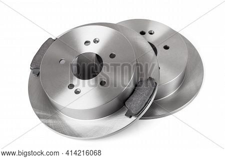 Set Of Brake Pads And Rotor Brake Disc New Car Spare Parts Brakes For A Vehicle Close Up Isolated On