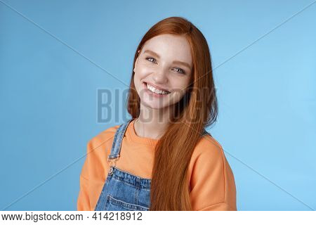 Pleasant Sincere Happy Ginger Girl Blue Eyes Tilting Head Grinning Happily Laughing Stay Positive Lu