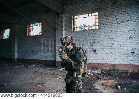 Soldier In Combat. Urban Combat Training, Soldier Entering Abandoned Building. Anti Terrorist Operat