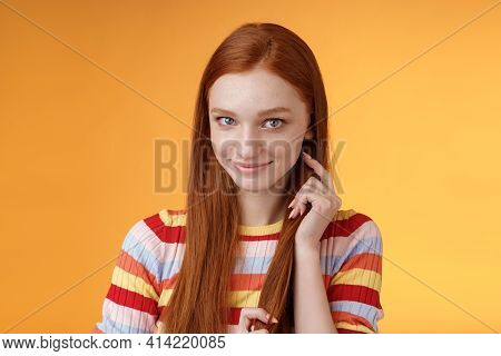 Romantic Flirty Shy Attractive Redhead Girl 20s Touching Hair Strand Smiling Silly Modest Glancing C