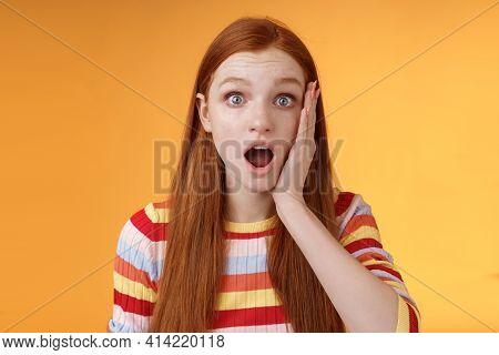 Shocked Impressed Concerned Ginger Girl Drop Jaw Gasping Stunned Slap Cheek Wide Eyes Surprised Hear