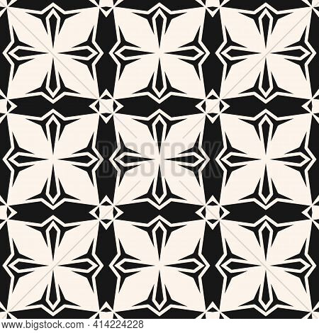 Geometric Ornament Pattern. Black And White Vector Seamless Texture With Cross Shapes, Flower Silhou
