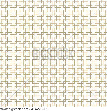 Square Grid Vector Seamless Pattern. Golden Abstract Geometric Texture With Lines, Squares, Rhombus,