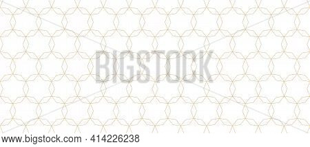 Golden Line Pattern. Subtle Seamless Background With Thin Linear Hexagonal Grid, Mesh, Lattice, Star