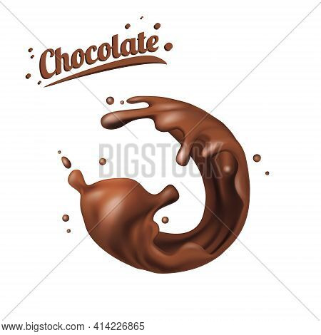 Splashes Of Chocolate. Spots 3d.abstract Realistic Chocolate Drop With Splashes Isolated On White Ba