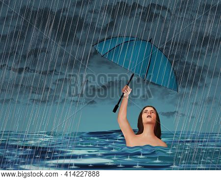 In An Act Of Futility, A Woman In A Lake Or Ocean Is In A Rainstorm But Despite Being Wet Already, H