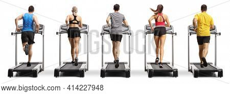 Rear view shot of people running on treadmills in a row isolated on white background