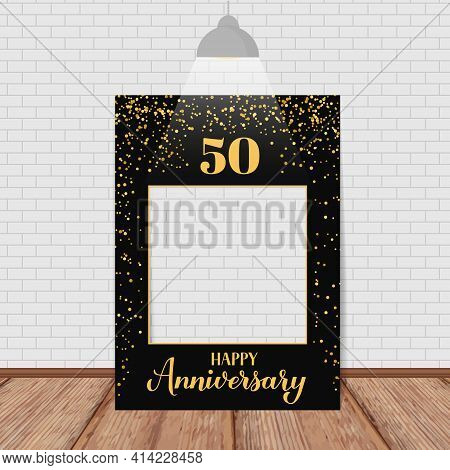 Happy 50th Anniversary Photo Booth Frame. Photobooth Props. Black And Gold Confetti Birthday Or Wedd