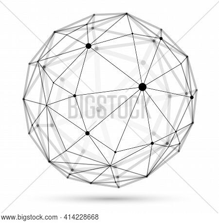 Dimensional Lattice Sphere Vector Abstraction, 3d Polygonal Design Abstract Shape Isolated Over Whit