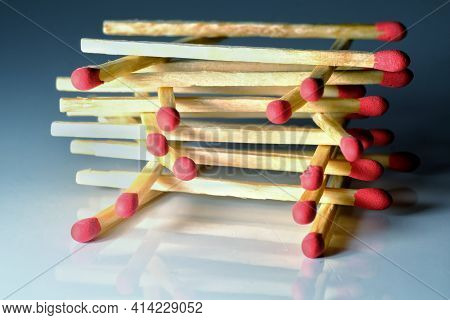 Close Up Of Match Sticks On Top Of Each Other