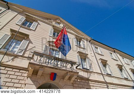 Bellinzona, Ticino, Switzerland - 23rd March 2021 : Low Angle View Of The Government Building Also K