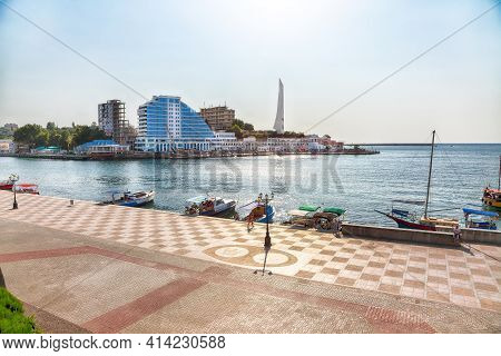 Residential Complex Cape Khrustalny And The Obelisk To The Hero City Of Sevastopol During Sunny Day.
