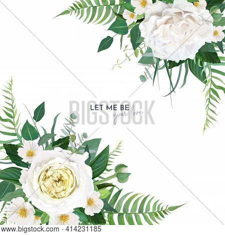 Vector Floral Ediatble Wedding Invite, Save The Date Card, Banner, Greeting Design. Green Fern Leave