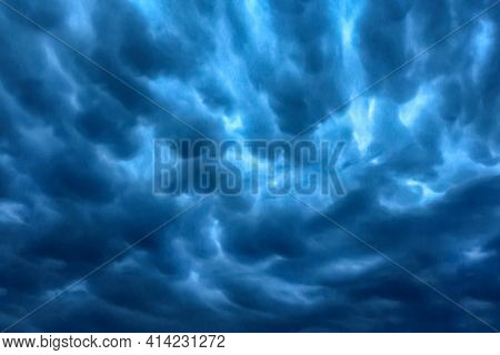 Dark Blue Rain Clouds Sky Texture Background.