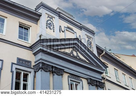 Vilnius, Lithuania - March 14, 2021: Ornate Building On Dominikonu Street Of Vilnius Old Town. Vilni