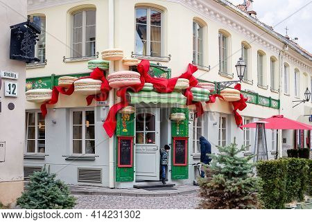 Vilnius, Lithuania - March 14, 2021: Nicely Decorated Cafe Stikliai In Picturesque Stikliu Street Of